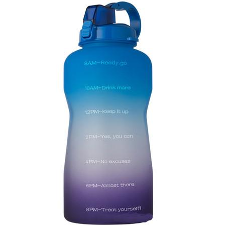 Image of 2L Water Bottle Motivational with Time Marker (blue)