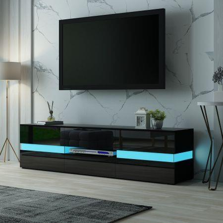 Image of TV Stand Cabinet 177cm Wood Entertainment Unit LED Gloss Storage Drawer - Black