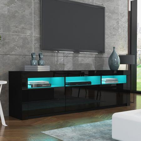 Image of Modern TV Stand Cabinet 160cm Wood Entertainment Unit High Gloss Furniture w/2 Drawers 2 Doors Black