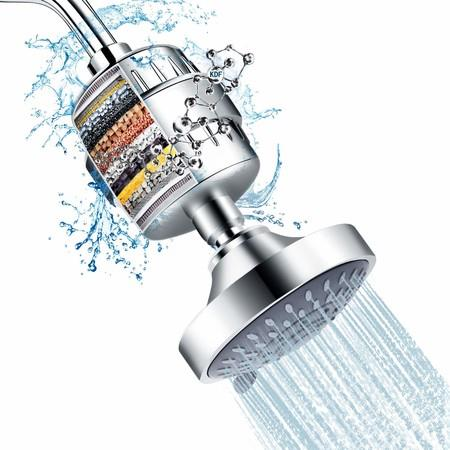Image of Shower Head and 15 Stage Shower Filter Combo, 5 Spray Settings Filtered Showerhead with Water Softener Filter Cartridge