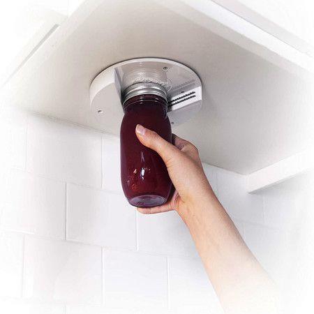 EZ Off Jar Opener-Under Cabinet Jar Lid & Bottle Opener-Great for Seniors & Weak or Arthritic Hands