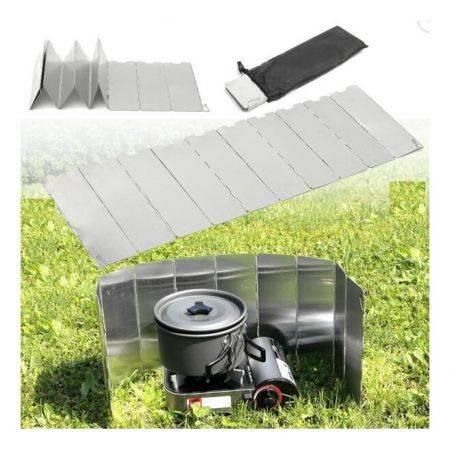Image of Camping 10 Plates Folding Wind Shield Picnic BBQ Cooking Gas Stove Aluminum Board Screen