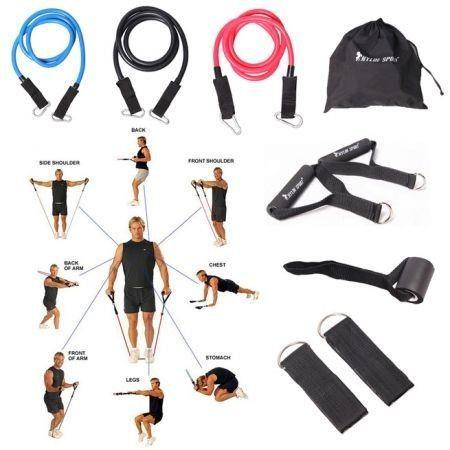 Image of 9Pcs Resistance Bands Elastic Exercise Set Fitness Tube Yoga Workout Pilates Crossfit Equipment Training Rope