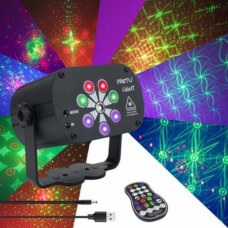 Image of Laser Lights Music Activated 128 Patterns USB power 8-Eyes Stage Laser Projector Light with Remote Control