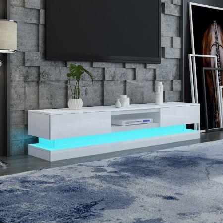 Image of 180cm Wood TV Stand Unit 2 Drawers High Gloss Front with RGB LED - White