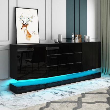 Image of 180cm Wall Mounted Sideboard Buffet Cupboard 2 Cabinets 3 Drawers High Gloss Front LED Lighting Black
