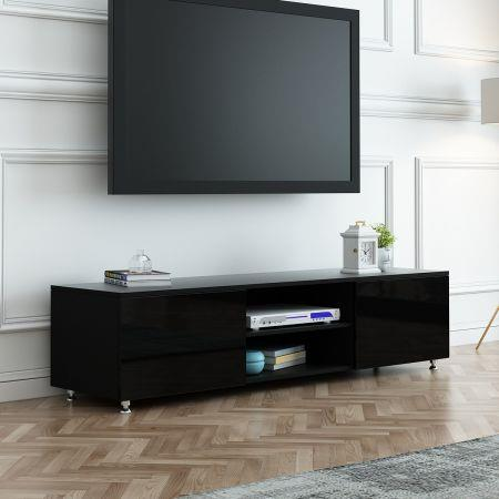Image of TV Stand 160cm Lowline Entertainment Cabinet High Gloss Front Wood Unit Black