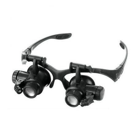 Image of LED Magnifier Double Eye Glasses Loupe Lens Jeweler Watch Repair