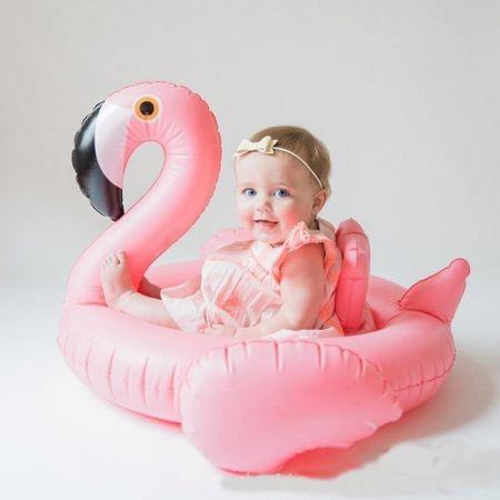 Image of Baby Swimming Ring Dount Seat Inflatable Flamingo /Swan Pool Float