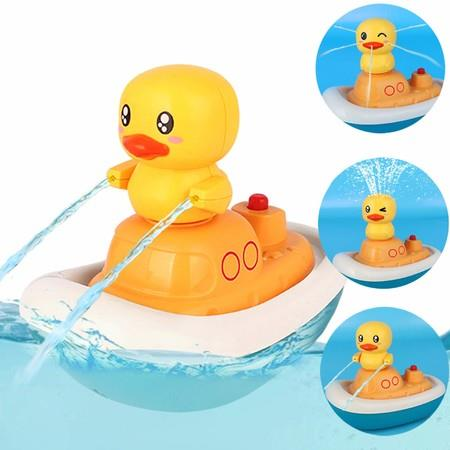 Image of Baby Bath Toys, Electric Water Spray Toys-Rotate Boat with 3 Fountain Methods Ducks, Sprinkler Shower Bathtub Toys Fun Bath Toys for Toddlers 1-3