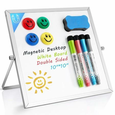 Image of Small Dry Erase White Board- Magnetic Desktop Whiteboard 10 inX10 in with Stand, 4 Markers, 4 Magnets & Eraser Portable Double-Sided Mini White Board Easel