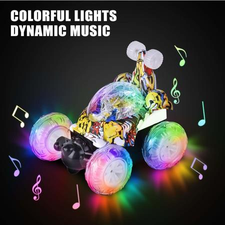 Image of Remote Control Car, RC Stunt Car Invincible Tornado Twister Remote Control Rechargeable Vehicle with Colorful Lights & Music Switch for Kids (Camouflage)