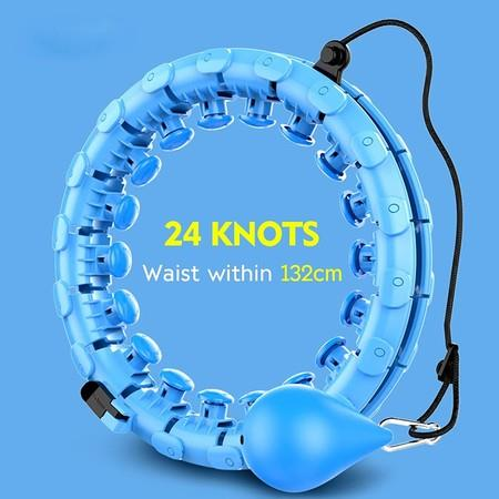 Image of 24 Knots Adjustable Exercise Weighted Hula Hoop, Smart Detachable Fitness Hula Hoops for Adults Abdomen Fitness and Massage 2-in-1,Exercise for Legs Waist Hips (Blue)