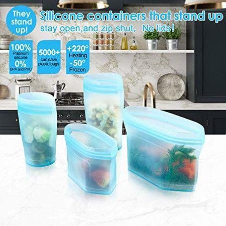 Image of 8pcs Reusable Food Bag silicone Preservation Bag