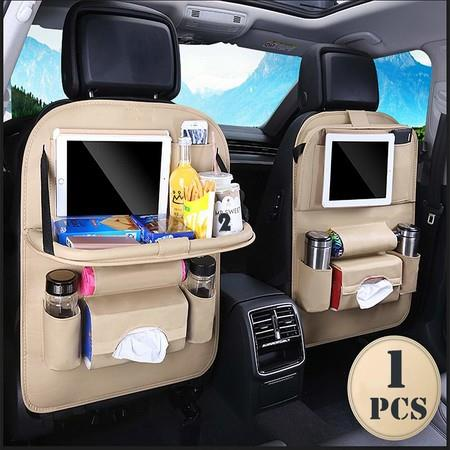 Image of 1 Pack Car Back seat PU leather Organizer with Foldable Table Tray Color Beige