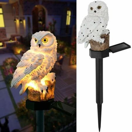Image of Garden Solar Lights Outdoor Decorative Resin Owl Solar LED Lights with Stake for Garden Lawn Pathway Yard Decortions