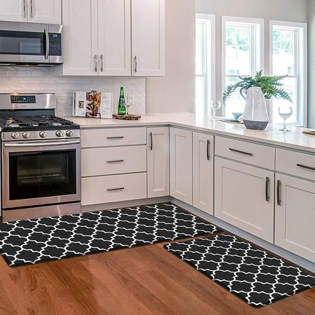 Image of 2 PCS Flannel Kitchen Mat Cushioned Anti-Fatigue Kitchen Rug, Waterproof Non-Slip col black