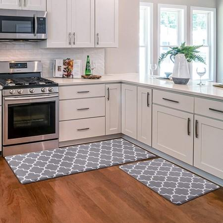Image of 2 PCS Flannel Kitchen Mat Cushioned Anti-Fatigue Kitchen Rug col grey