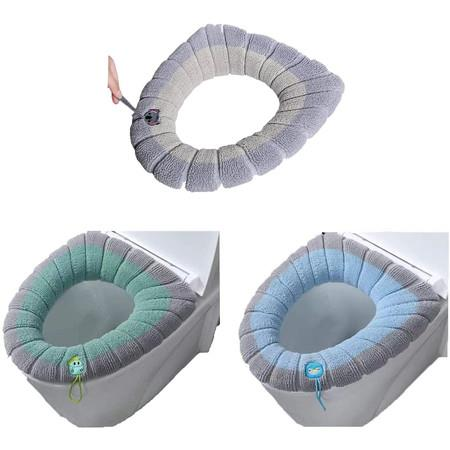 Image of 3Pcs Toilet Seat Cover, Soft Thick Toilet Seat Warmer with Lanyard(3 Random Color)