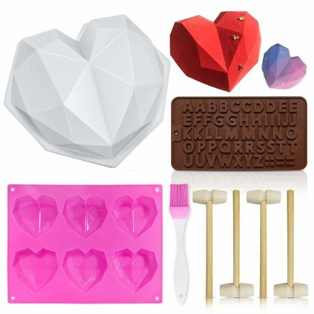 Image of Heart Mold, Silicone Molds Diamond Heart Love Shaped Molds Trays Non-Stick Letter Chocolate Molds with Wooden Hammers Silicone Brush for Mousse Cake Dessert Biscuit DIY Baking Tools