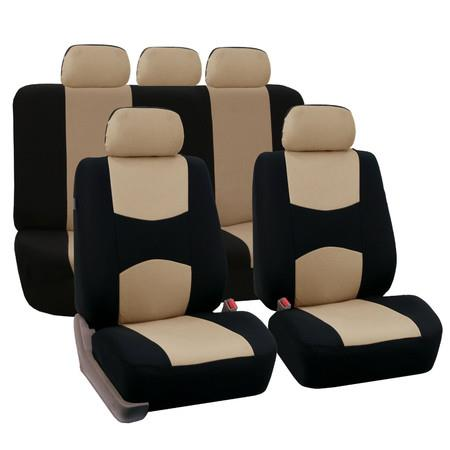Image of Car Seat Covers Universal Fit for Auto Truck Van SUV(Beige/Black)