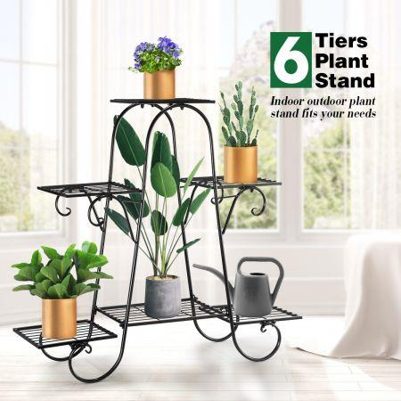 Image of 6 Tier Metal Plant Stand Flower Plant Pot Stand Shelf Black