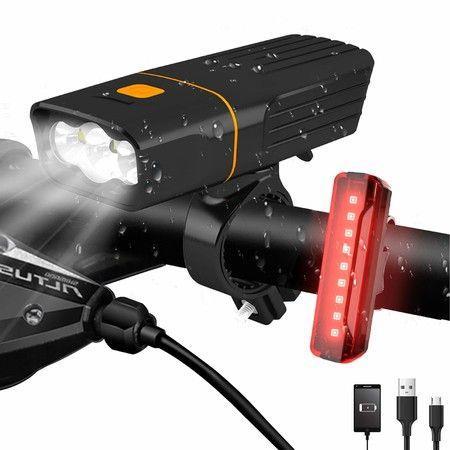 Image of LED Bike Headlight and Back Light Set 2400 mAh 3+5 Light Modes, IPX5 Waterproof