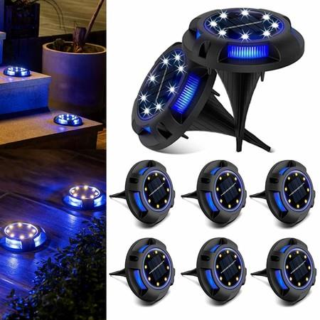 Image of 8 packs Solar Lights Outdoor with 8LEDs Garden Yard Lawn Walkway Driveway (White + Blue)