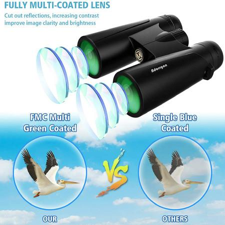 Image of 12x42 Powerful Binoculars for Adults with Clear Low Light Vision - Large View Eyepiece Binoculars for Birds Watching Hunting Travel