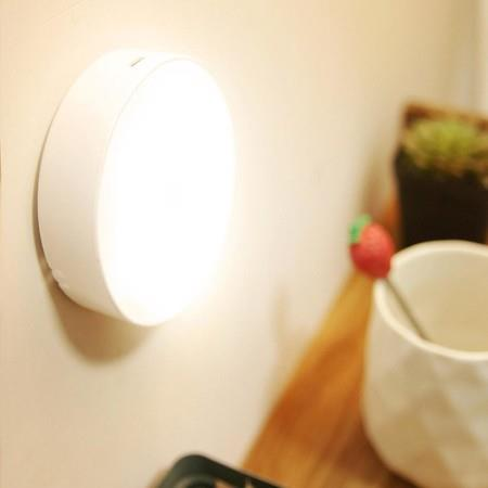 Image of 2pcs LED Motion Sensor Lights USB Rechargeable Wireless Cabinet Magnetic Night Lamps warm n white light