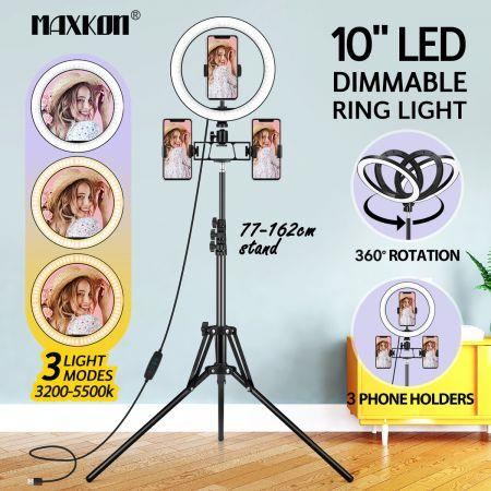 Image of 10 Inch LED Ring Light Selfie Ring Light with Adjustable Tripod Stand for Makeup Video Vlog