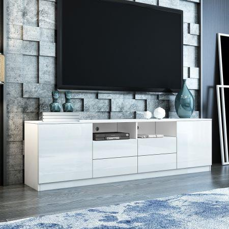 Image of 180cm TV Stand Cabinet Wood Entertainment Unit Gloss Storage Shelf w/4 Drawers & 2 Doors - White