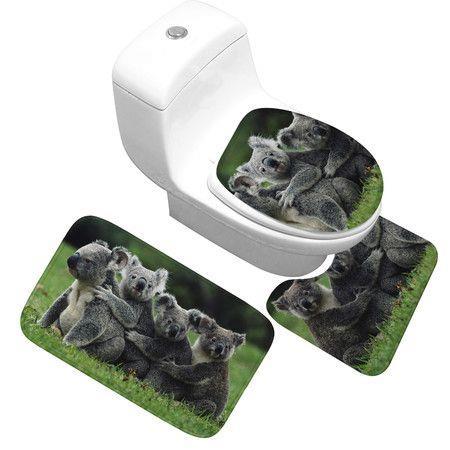 Image of 3Pcs 3D Koala Print Bathroom Rug Set Funny Door Floor Mat 40x60