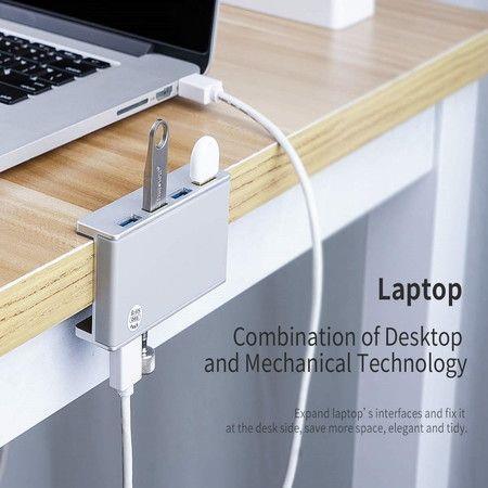 Image of Powered USB Hub Type C to USB 3.0 Adapter with 4 USB 3.0 Ports, Compact Space-Saving Mountable Aluminum USB Hub