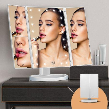 Image of Maxkon Makeup Vanity Mirror with 21 LED Lights 1X/2X/3X Magnification Trifold Mirror