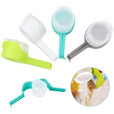 Image of Food Bags Clips, Bag Sealing Clips with Discharge Nozzles Plastic Bag Moisture Sealing Clamp Food Saver Kitchen Snack Tool 4pcs