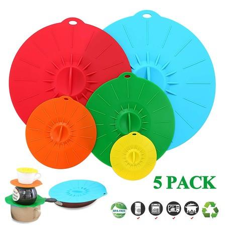 Image of Elegant Live Set of 5 Heat Resistant Microwave Cover - Various Sizes Silicone lids for Bowls, Plate, Pots, Pans - StoveTop, Oven, Fridge and Freezer Safe.