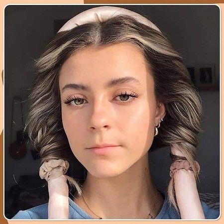 Image of Heatless Hair Rollers Headband,No Heat Curls Silk Ribbon 1 Rollers1 Clips 2Hair Tie, Pink