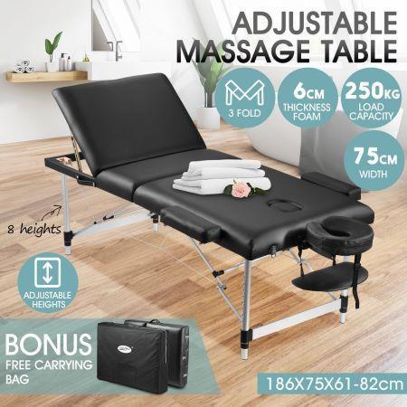 75cm Aluminium Massage Table Bed Therapy Equipment-Black