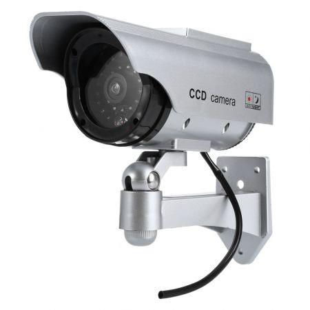 Image of Solar Energy Realistic Dummy Surveillance Security CCTV Sticker Camera Flashing Red LED Light with Fake Video Cable