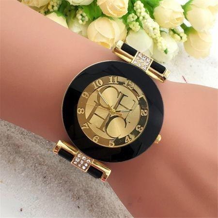 Image of Fashion Preaty Casual Quartz Watch Women Crystal Silicone Watches Dress Watch