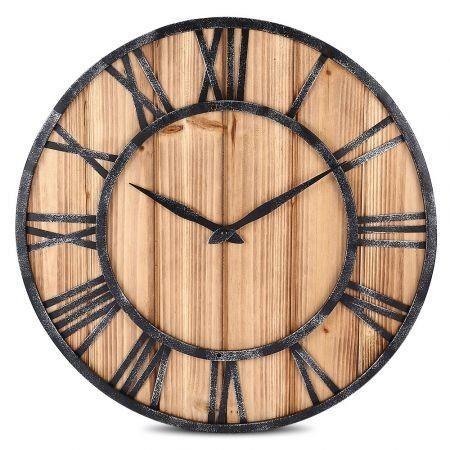 Image of European Style Wooden Metal Non-ticking Quartz Wall Clock