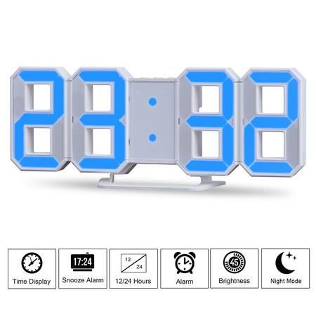 Image of Blue LED Digital Numbers Wall Clock with 3 levels Brightness Alarm Snooze Clock