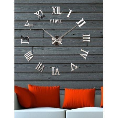 Image of 3D Roman Numerals DIY Acrylic Mirror Clock Wall Sticker
