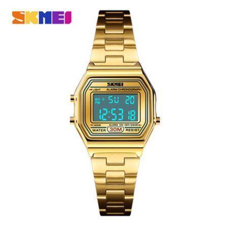 Image of SKMEI Men's Sport Waterproof Golden Stainless Steel Fashion Digital Wrist Watch