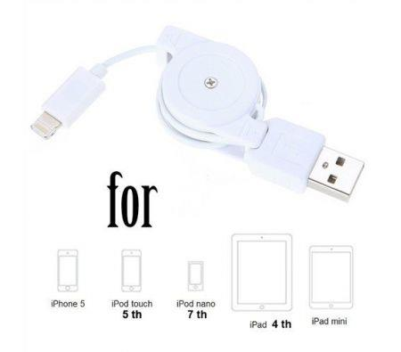 Image of Retractable 8 Pin Lightning to USB Data Sync-Charging Cable for iPhone 5 iPad 4 Mini iPod