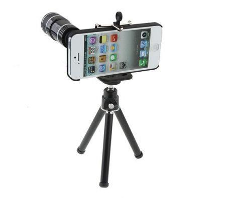 Image of 12x Zoom Telescope Camera Lens Kit + Tripod + Case For Apple iPhone 5 5S