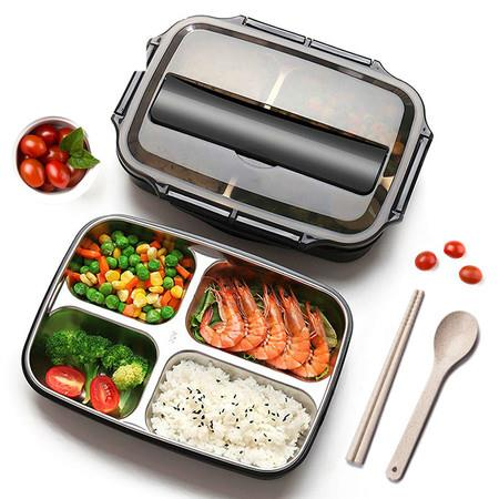 Image of Stainless Steel 304 Lunch Box With Spoon Leak-proof Lunch Bento Boxes Dinnerware Set Adult Children Food Contain