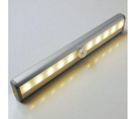Image of Aluminium Alloy 120lm 10-LED PIR Sensor Closet Light Lamp - Yellow Light