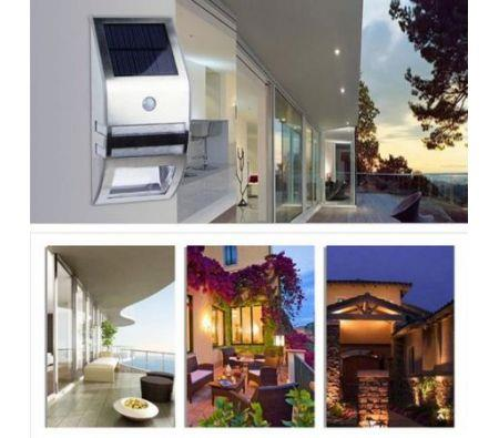 Image of Stainless Steel Solar Power Highlight LED PIR Induction Wall Light - Silver